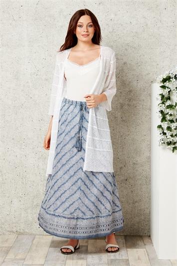 Cotton Boho Print Maxi Skirt