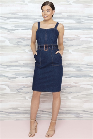 Indigo Denim Belted Dress with Pockets