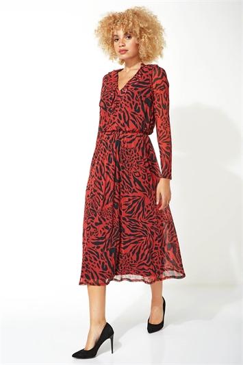 Animal Print Mesh Fit and Flare Midi Dress