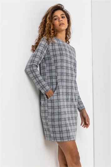Grey Check Print Pocket Shift Dress