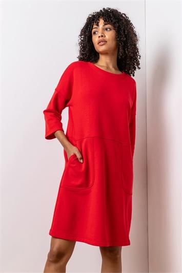 Red Comfy Panel Pocket Dress, Image 1 of 5