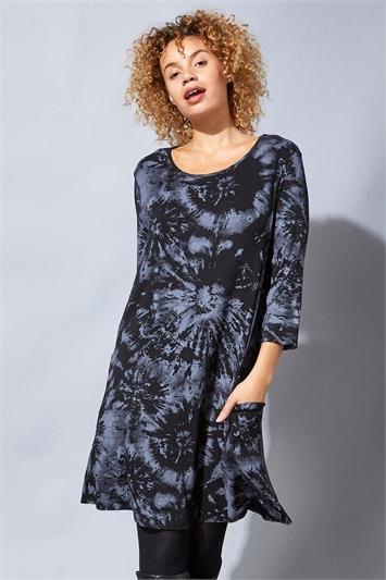 Tie Dye Print Swing Pocket Dress