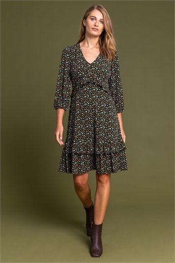 Amber Double Frill Detail Floral Dress