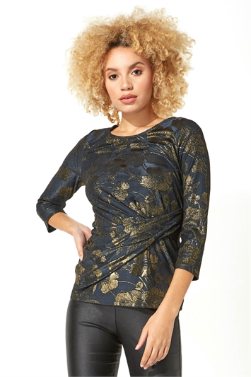 Jacquard Floral Side Detail Top