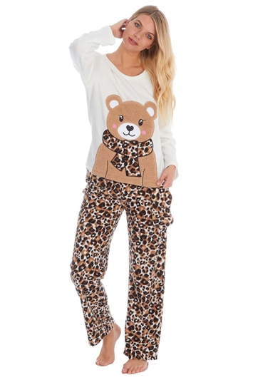 Teddy Bear Microfleece Pyjama Set & Sleep Mask