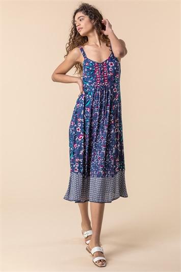 Navy Geo Floral Print Strappy Sun Dress