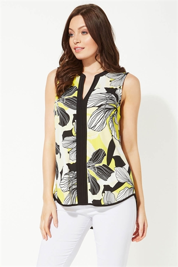 Notch Neck Floral Print Top