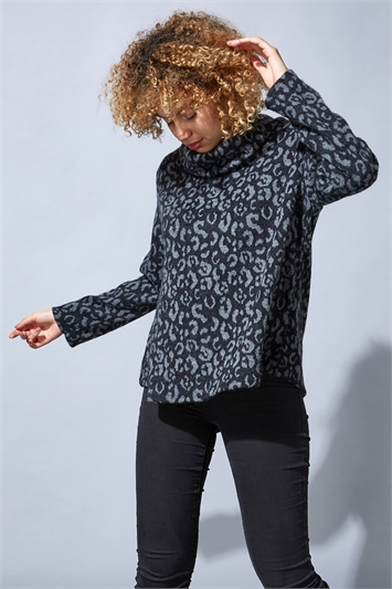 Animal Print Cowl Neck Jumper
