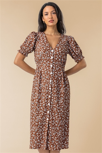 Taupe Floral Print Button Through Dress, Image 1 of 5
