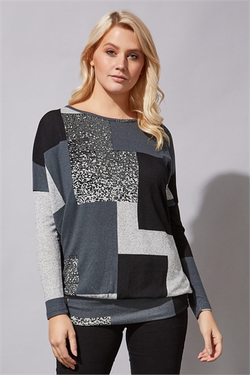 Colour Block Print Blouson Top