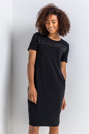 BLACK Hotfix Slouchy Dress, Image 1 of 4