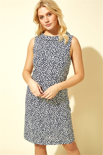 Collar Trim Button Shift Dress