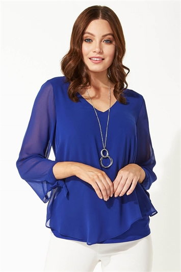 Royal Blue Necklace Trim Sleeve Tie Top