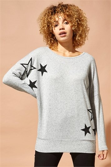 Star Print Batwing Top