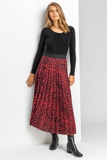 Red Animal Print Pleated Skirt