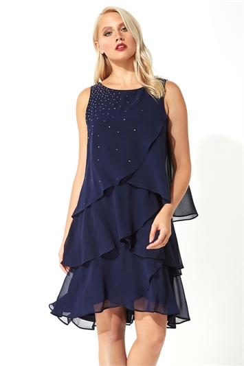 Embellished Frill Swing Dress