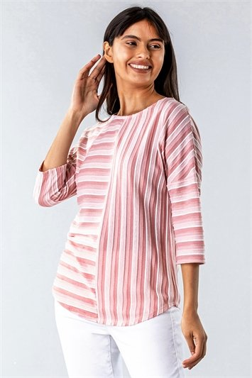 Textured Stripe Print Top