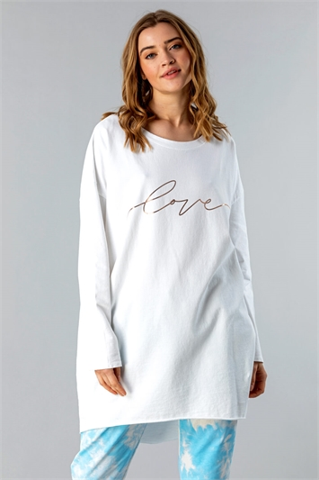 Ivory Foil Love Print Lounge T-Shirt, Image 1 of 4