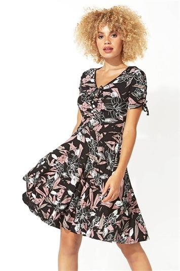 Pink Floral V Neck Tea Dress