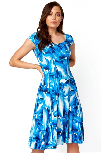 Leaf Print Panel Dress