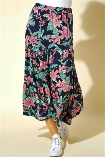 Navy Tropical Floral Tiered Midi Skirt