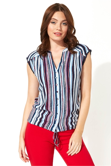 Button Through Stripe Print Blouse