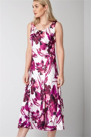 Abstract Floral Bias Print Dress