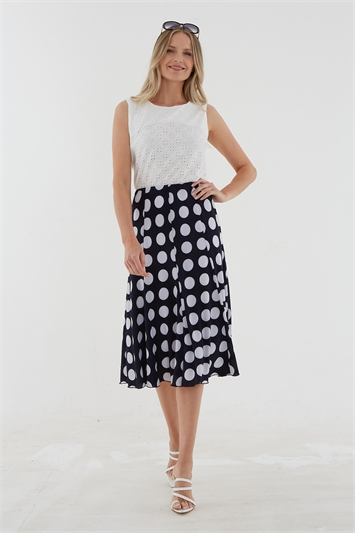 Julianna Spot Chiffon Panel Skirt