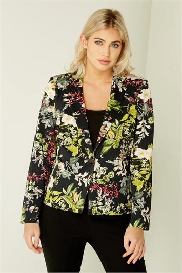 Floral Print Jersey Jacket