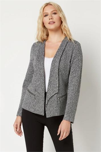 Monochrome Jersey Zip Detail Jacket