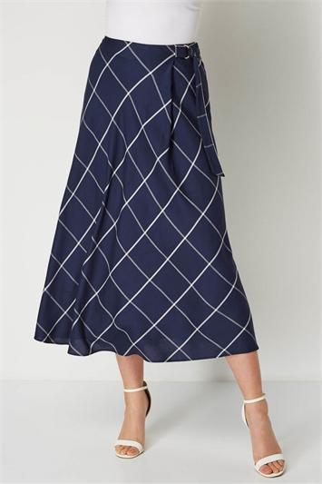 Check Print D Ring Midi Skirt