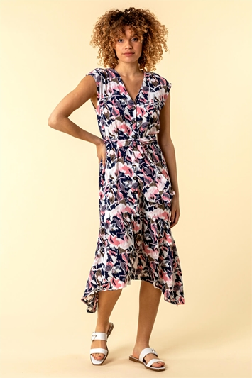 Abstract Floral Print Button Down Dress