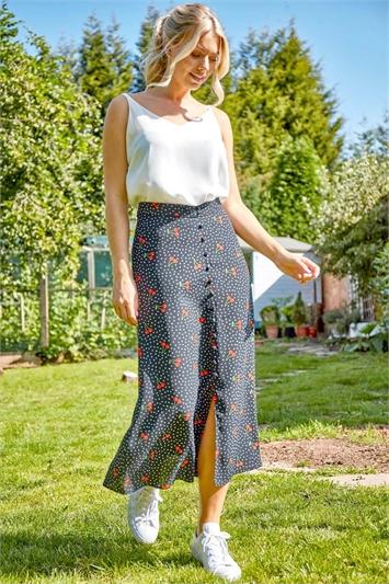 Cherry Spot Print Midi Skirt