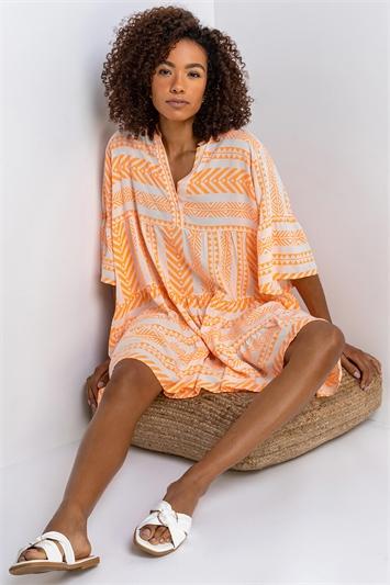 Orange Aztec Print Tiered Beach Dress