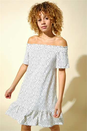 Spot Print Cotton Bardot Dress