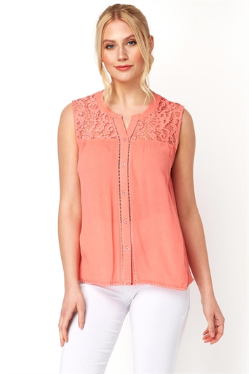 Lace Insert Button Up Blouse