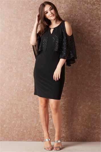 Spot Glitter Chiffon Overlay Dress