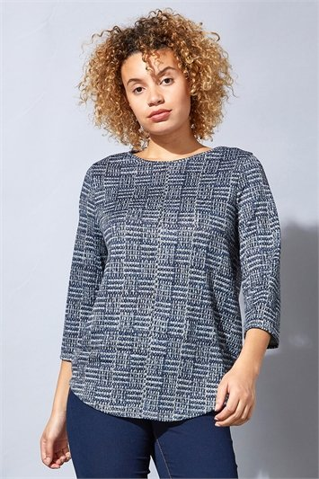 Contrast Check Print Jersey Knit Top