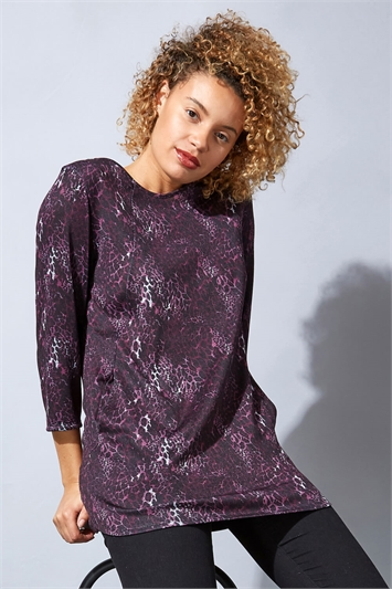 Purple Animal Print Jersey Top With Pockets, Image 1 of 1
