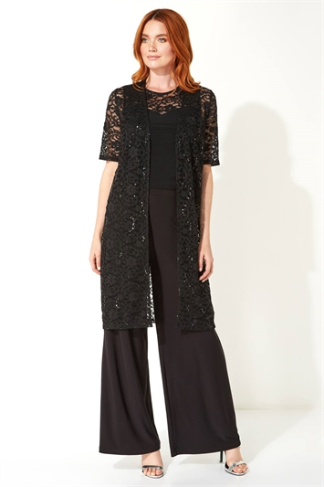 3/4 Sleeve Sequin Lace Kimono