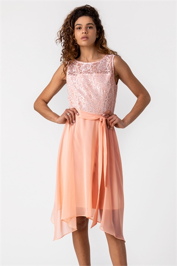 Light Pink Lace Detail Fit And Flare Dress, Image 1 of 5