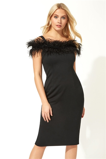 Feather Embellished Fitted Dress