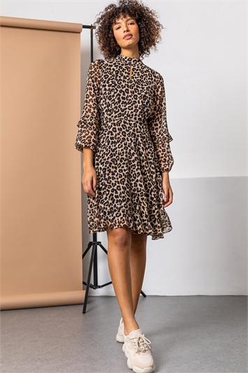 Brown Animal Frill Detail Chiffon Dress