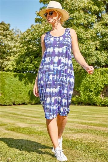 Tie Dye Print Pocket Cocoon Dress