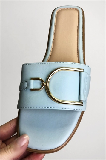 Blue PU Buckle Strap Sandal