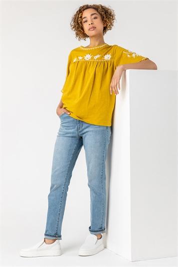 Amber Embroidered Yoke T-Shirt
