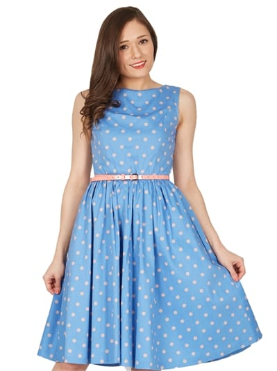 Audrey Blue Dream Polka Swing Dress