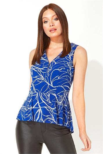 Royal Blue Leaf Print Zip Front Top, Image 1 of 5