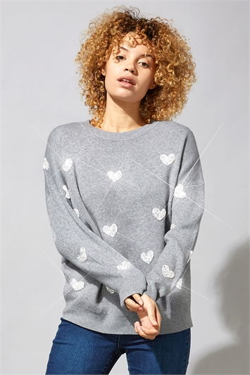 Heart Embellished Knitted Jumper