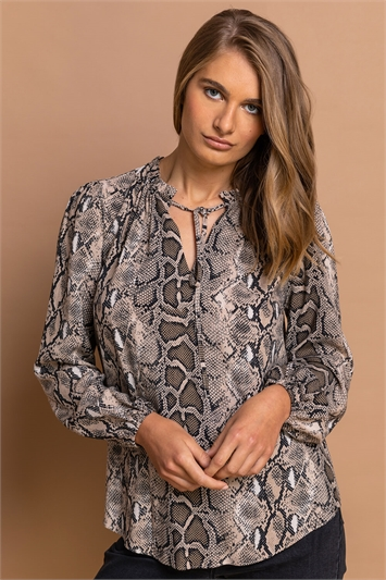Neutral Snake Print Tie Neck Blouse, Image 1 of 5